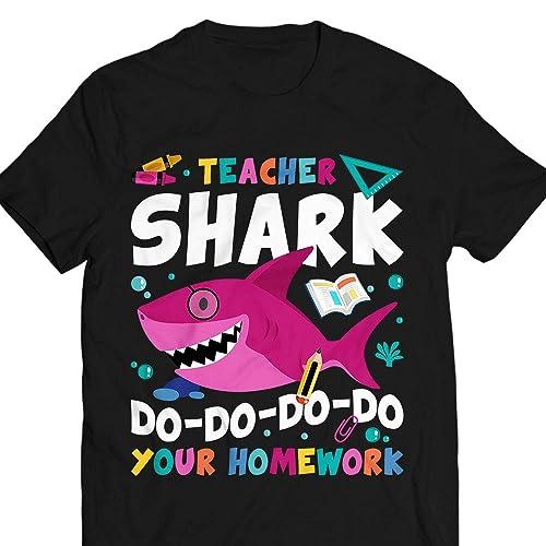 58d1e477f Amazon.com: Teacher Shark Do Your Homework Funny teacher Gift Customized T- Shirt Hoodie/Long Sleeve/Tank Top/Sweatshirt: Handmade
