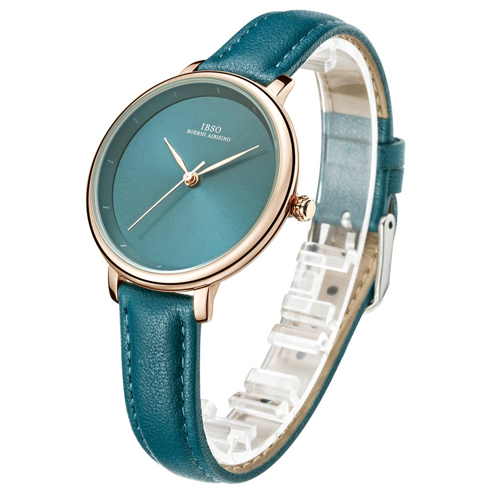 Amazon.com: IBSO Ladies Watches Leather Band Round Case Fashion Women Watches on Sale relojes Mujer (6606B-Green): Watches