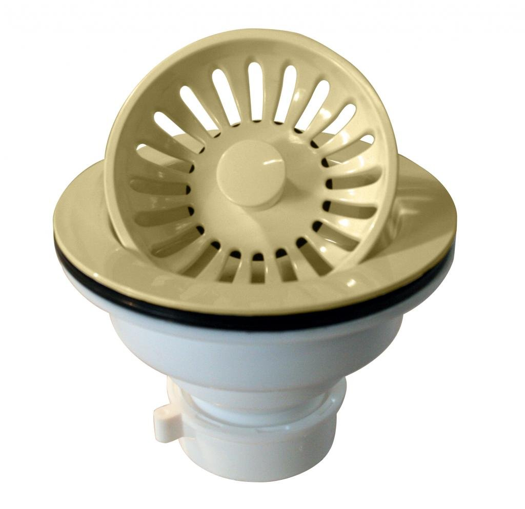 Westbrass Push-Pull Style Large Kitchen Sink Basket Strainer, Almond, D2143P-51