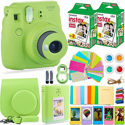 Fujifilm Instax Mini 9 Camera + Fuji Instax Film (40 Sheets) + Bundle - Carrying Case, Color Filters, Photo Album, Stickers, Selfie Lens + More(Lime Green)