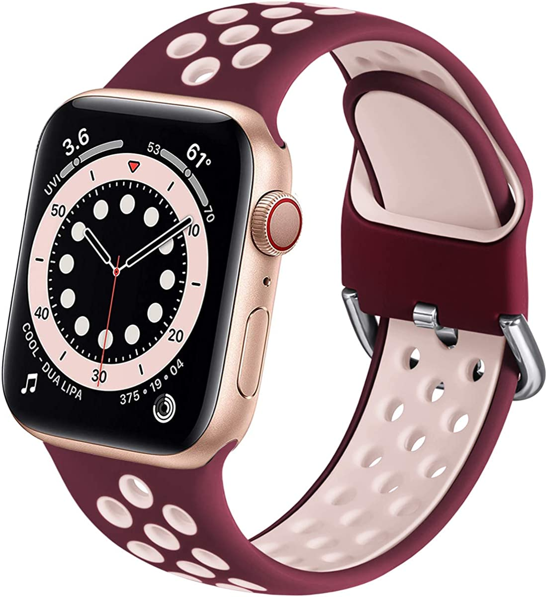 Muranne Sport Band Compatible with Apple Watch 44mm 42mm 40mm 38mm for Women Men, Sporty Breathable Soft Silicone Replacement Wrist Strap Compatible with iWatch SE Series 6 5 4 3 2 1, S/M M/L