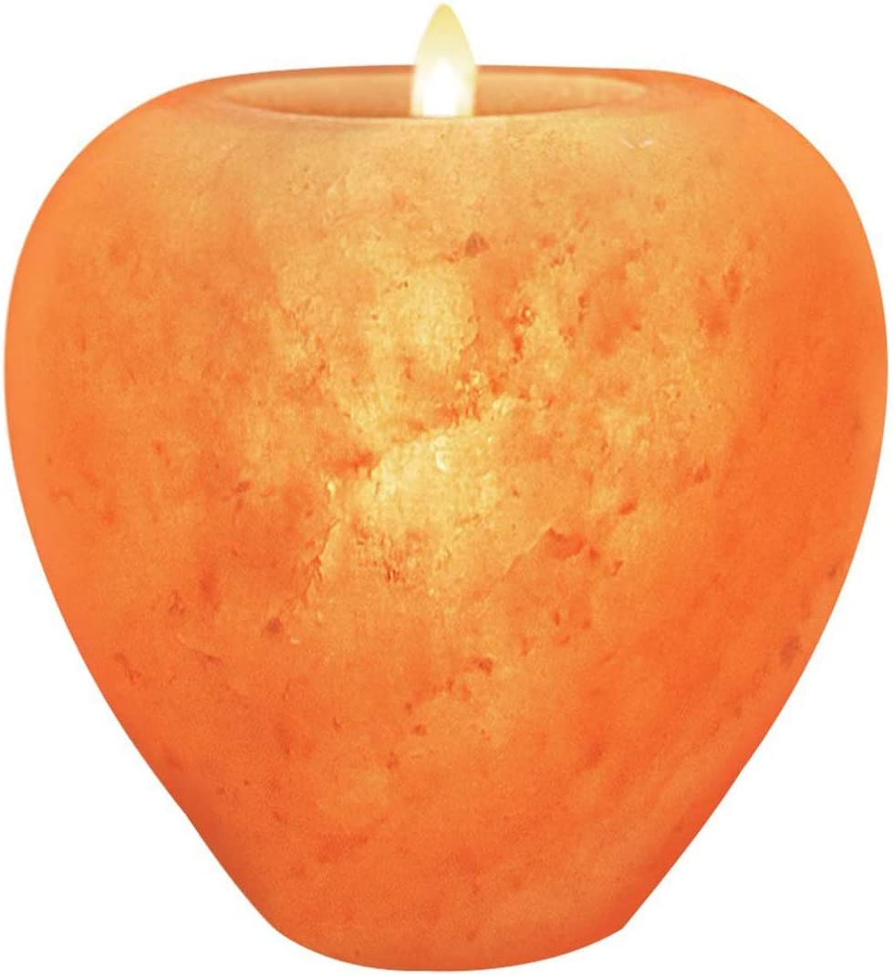 Himalayan Glow Apple Style Natural Pink Salt Tealight Candle Holder,100% Pure Crystal Salt Candle Lamp | Night Light & Decorative Light, Choice