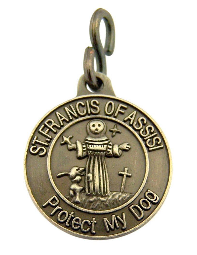 Pewter Saint Francis of Assisi Protect My Dog Collar Medal, 1 Inch Religious Gifts