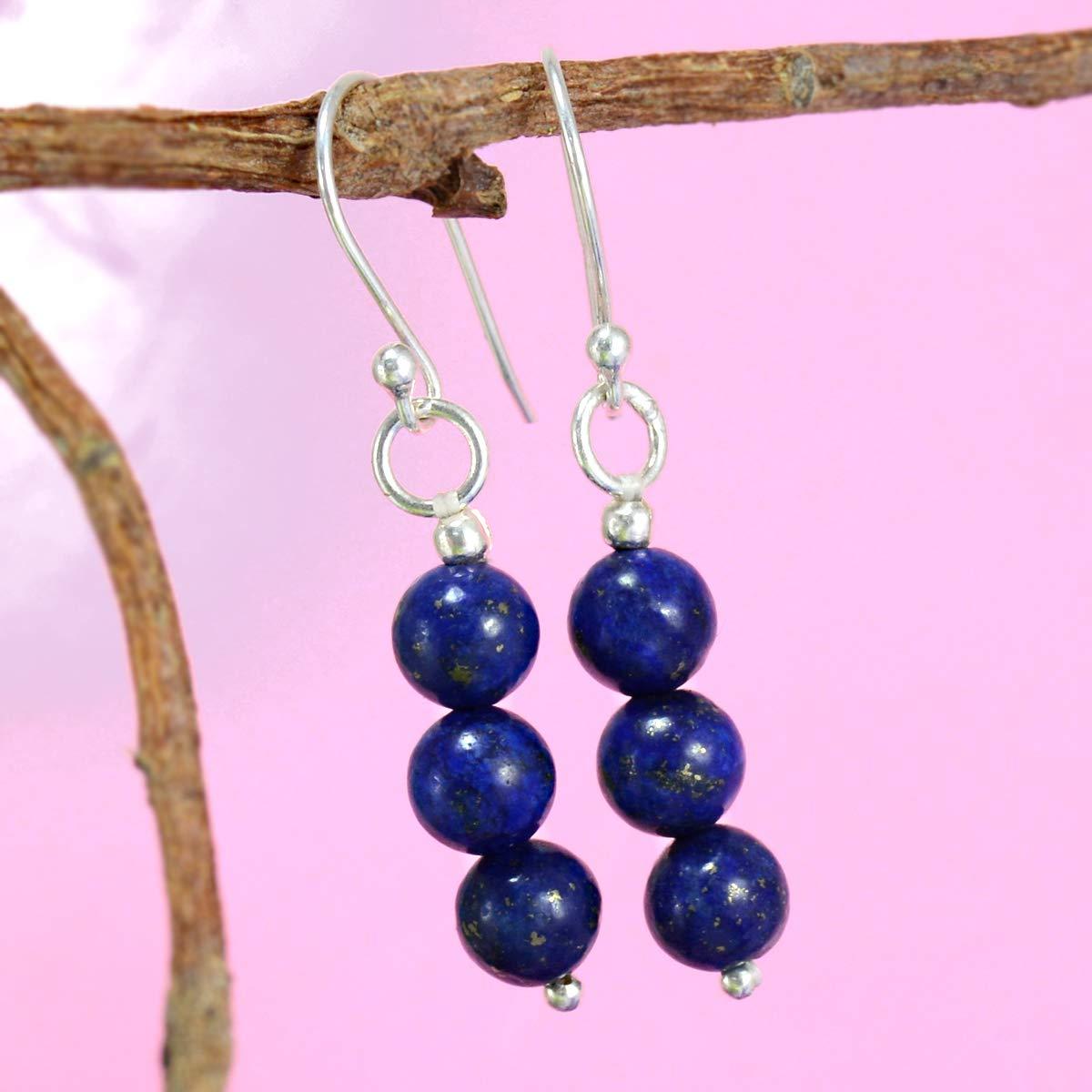 925 Sterling Silver Simple Dangle Earring Jaipur Rajasthan India Handmade Jewelry Manufacturer Deep Blue Lapis Lazuli