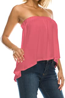 product image for Womens High Low Flared Bottom Drapey Flowy Tube Top Blouse Made in USA