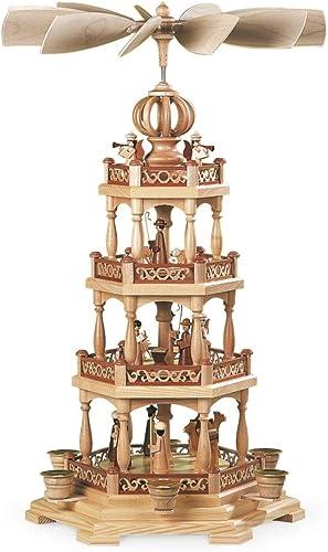 M ller German christmas pyramid Christmas story, 3-tier, height 58 cm 23 inch, natural, original Erzgebirge by Mueller Seiffen