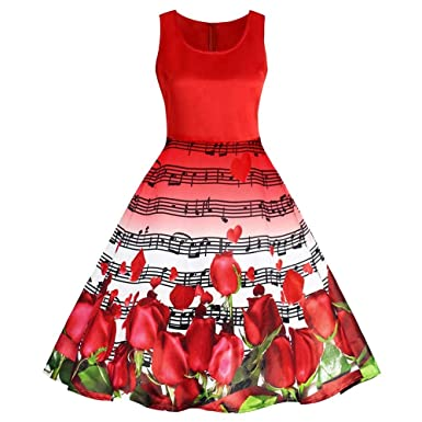 5e44ad62a9f YTJH Women Vintage Dress Sleeveless Musical Notes Rose Print Casual Hedging  Polyester at Amazon Women s Clothing store