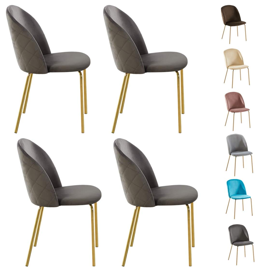 225 & Set of 4 Velvet Dining Chairs with Golden Finish Metal Legs Living Room Chair Dale (Grey)