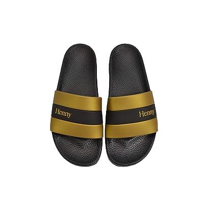 CONNETIC Henny Stripe Slides Black Gold Slip On Men's Sandals | Sandals