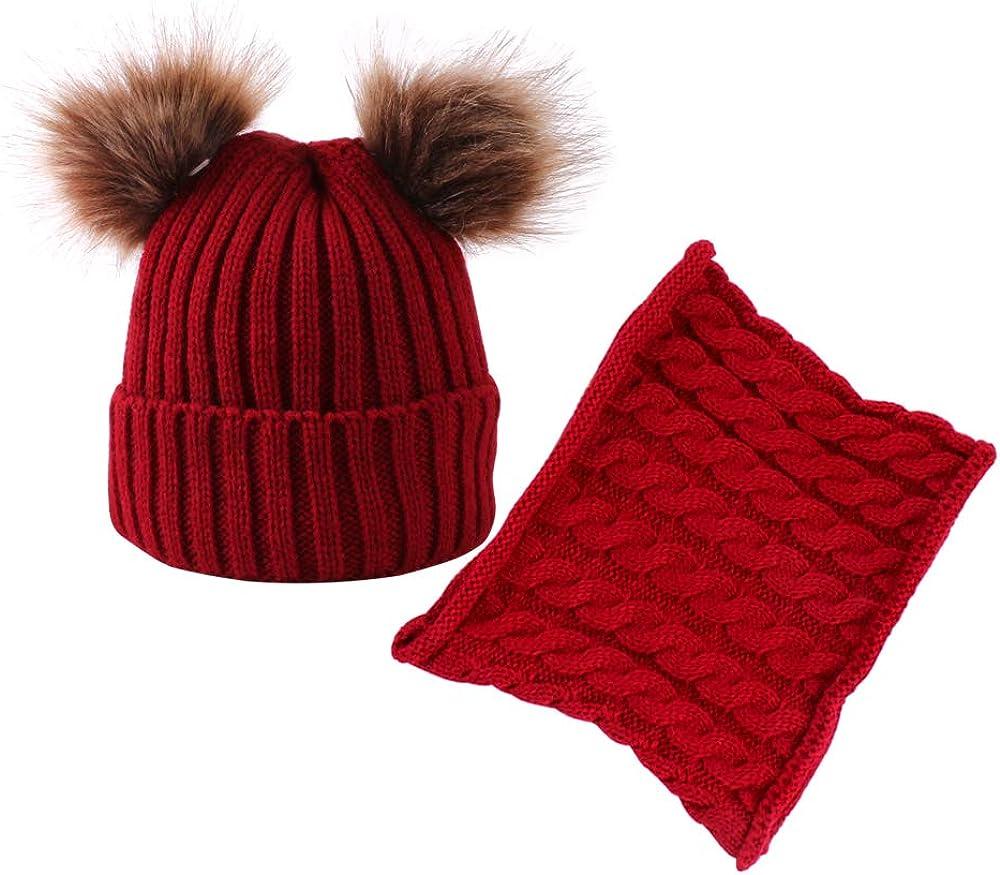 Lumsinker 2 Piezas Beb/é Ni/ño Gorro Bufanda Conjunto Tejer Sombreros