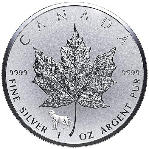 2018 CA 1oz .9999 Fine Silver Maple Leaf Lunar Dog Privy $5 Brilliant Uncirculated (Lunar Leaf)