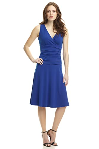 Rekucci Women's Slimming Sleeveless Fit-and-Flare Tummy Control Dress