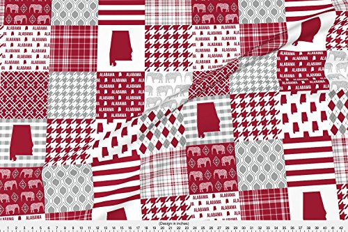 Roll Tide Fabric Alabama Cheater Quilt Bama Quilt Patchwork by Charlottewinter Printed on Basic Cotton Ultra Fabric by the Yard by (Alabama Quarter Roll)