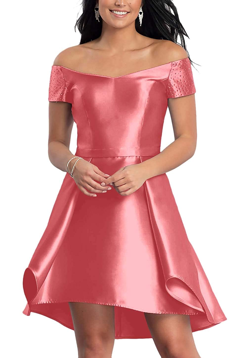 Coral FeiYueXinXing Satin HighLow Short OffTheShoulder Homecoming Dress for Juniors with Pockets