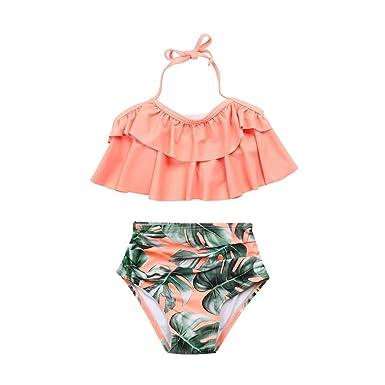 66e174c70a529 Hunputa Baby Girl's Swimwear 2Pcs Ruffles Swimwear Bathing Bikini Set  Outfits Swimsuit 3T Pink