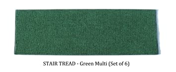 8u0026quot;x36u0026quot; STAIR TREADS (Set Of 6)   GREEN MULTI   Indoor
