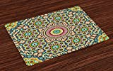 Lunarable Moroccan Place Mats Set of 4, Aged Old Arabic Design Arabian Cultural Engraving Art History Tourist Attraction, Washable Fabric Placemats for Dining Room Kitchen Table Decoration, Multicolor