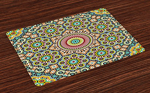 Lunarable Moroccan Place Mats Set of 4, Aged Old Arabic Design Arabian Cultural Engraving Art History Tourist Attraction, Washable Fabric Placemats for Dining Room Kitchen Table Decoration, Multicolor by Lunarable