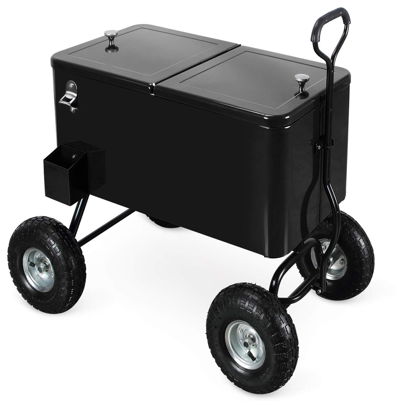 Belleze 80 Qt Party Beach Patio Portable Rolling Ice Chest Drink Cooler Wagon w/Built-in Bottle Opener and Catch Tray