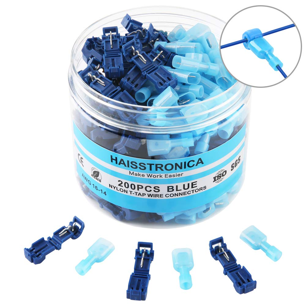 200PCS T-tap Wire Connectors,T-tap Electrical Connectors with Case Insulated Male Spade Nylon Quick Splice by Haisstronica(Blue16-14)