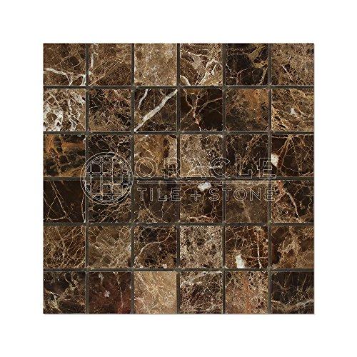 Emperador Dark Spanish Marble 2 X 2 Mosaic Tile, Polished