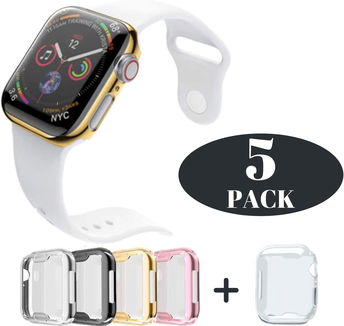 Case for Apple Watch 38m Series 3, 2 & 1 Built-in Screen Protector All Around Protective Cover 4 Pack Bundle Black, Silver, Gold, & Rose Gold HD Clear Ultra-thin 38mm iWatch 3, iWatch 2, and Apple iWatch 1 Premium TPU Cover by iV Industry [4 PACK - 38mm Series 3 / 2 / 1]
