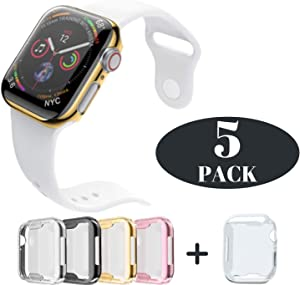 Case for Apple Watch 40mm Series 5 Series 4 Built-in HD Clear Screen Protector All Protective Cover 5 Pack Black, Silver, Gold, Rose Gold Clear Ultra-Thin Apple iWatch 4/5 TPU Covers by iV Industry