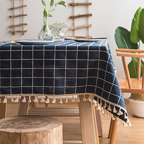 ColorBird Embroidery Checkered Tassel Tablecloth Heavy Weight Cotton Linen Plaid Dust-Proof Table Cover for Kitchen Dinning Tabletop Decoration (Rectangle/Oblong, 55 x 86 Inch, Navy Blue)