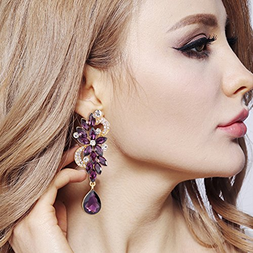 BriLove Women's Wedding Bridal Dangle Earrings Bohemian Boho Crystal Flower Chandelier Teardrop Bling Earrings Amethyst Color Gold-Tone by BriLove (Image #1)