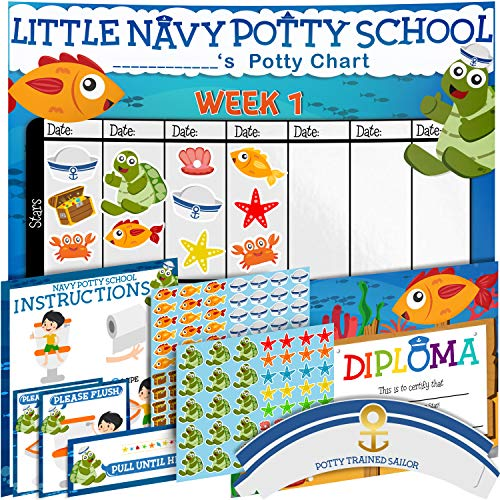 Potty Training Chart for Toddlers - Sea Theme - Sticker Chart - Celebratory Diploma, Crown and Book - 4 Week Potty Chart for Girls and Boys - Potty Training Sticker Chart (Chair Chart)