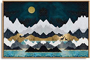 SIGNFORD Framed Canvas Home Artwork Decoration Abstract Mountain Nature Scenery Canvas Wall Art for Living Room, Bedroom - 24x36 inches