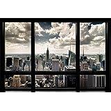 1art1, 56668, Poster, motivo: New York - Finestra con vista sullo skyline, 91 x 61 cm