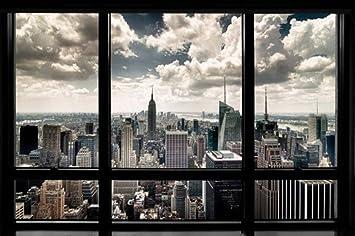 Blick aus dem fenster poster  Amazon.de: 1art1 56668 New York - Fenster mit Ausblick auf Die ...