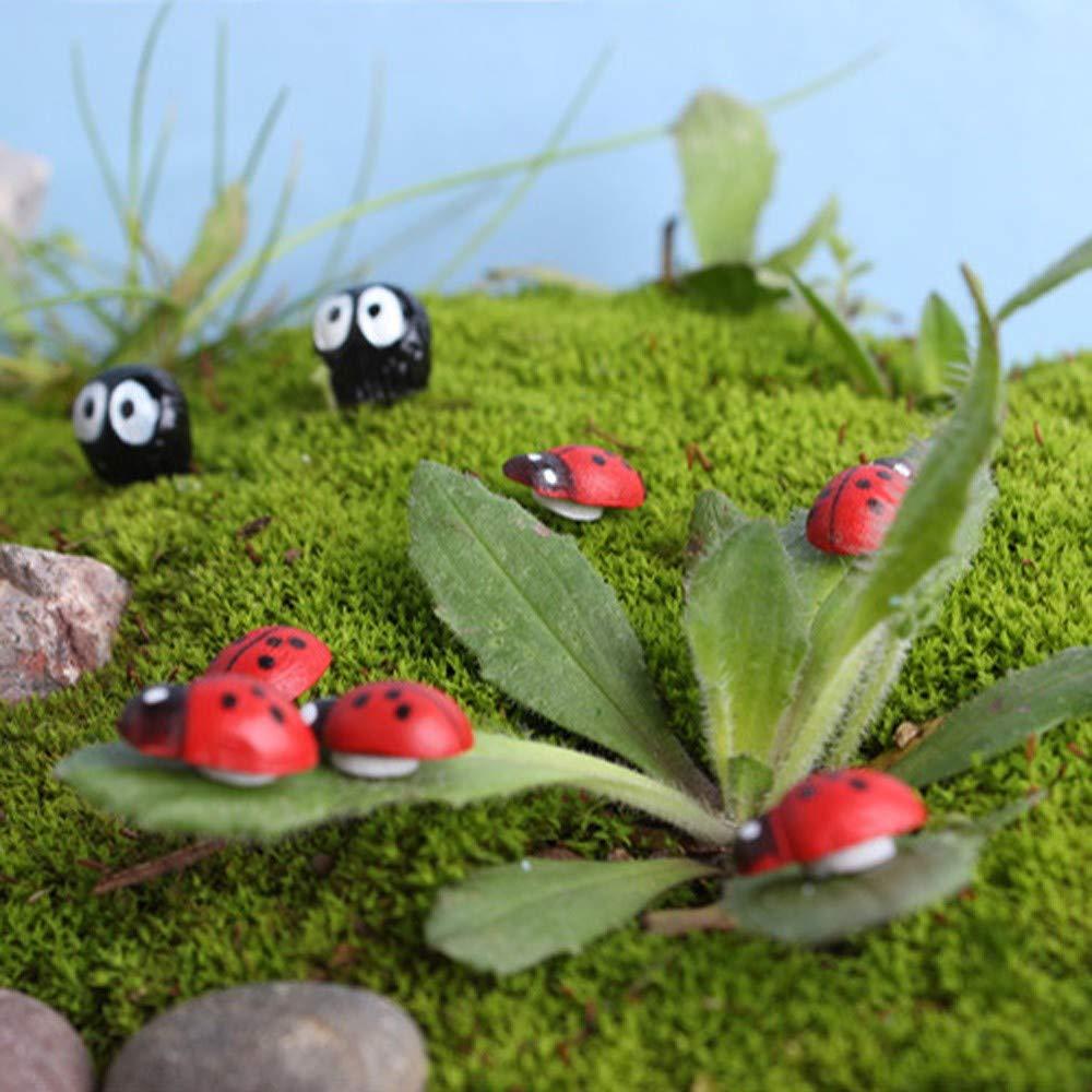 Elevin(TM)  10Pcs Miniature Ladybird Ladybug Garden Ornament Figurine Fairy Dollhouse Decor