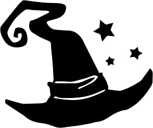 "Bargain Max Decals Witch Hat Silhouette Decal Notebook Car Laptop 5.5"" (Black)"