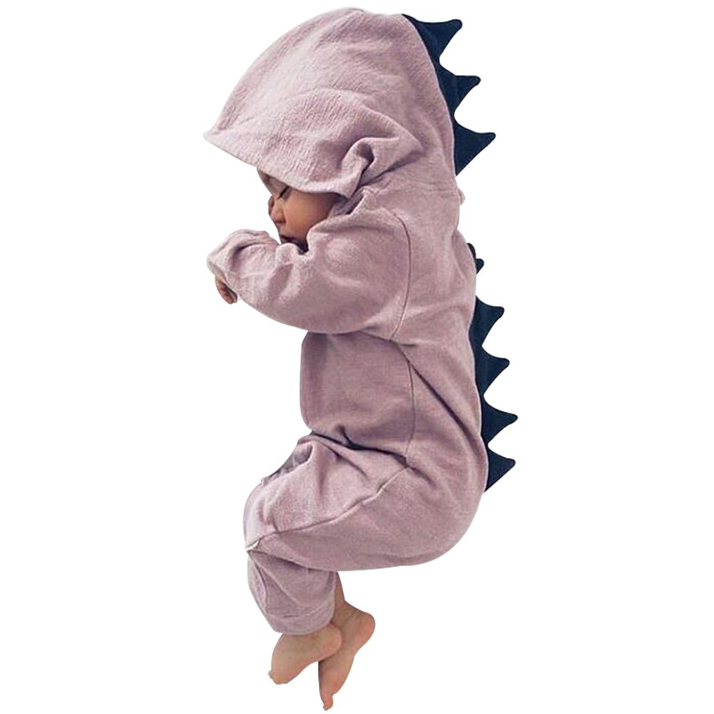 DRESHOW BQUBO Baby Cartoon Onesies Dinosaur Romper Long Sleeve One-Piece Jumpsuit 6-12 Months Purple / Zipper Front