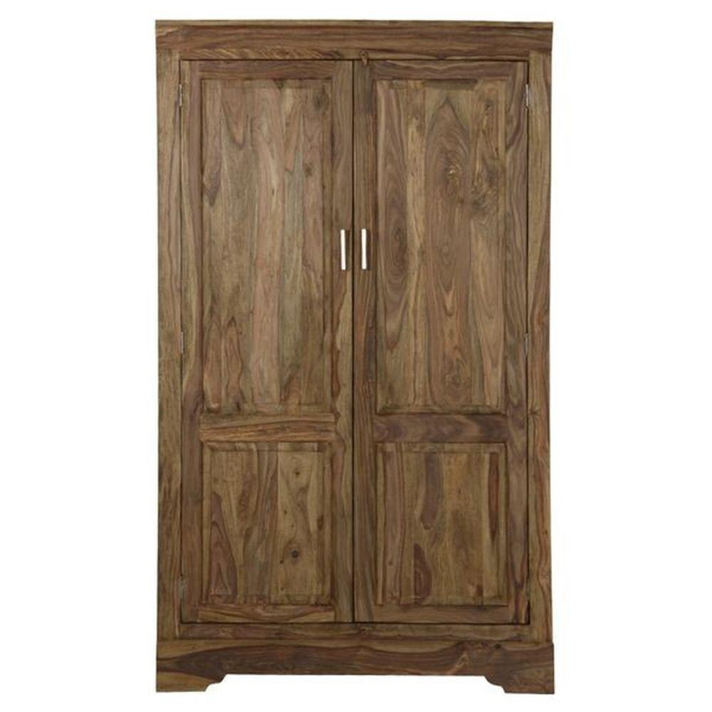 Kleiderschrank mit 2 Türen aus Massivholz Palisander natur - Modell Punja