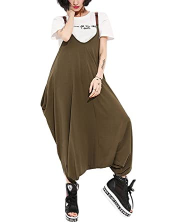 707ec227c846 Gihuo Women s Loose Baggy Bib Overalls Jumpsuit Casual Hippie Drop Crotch  Harem Pants (Army Green