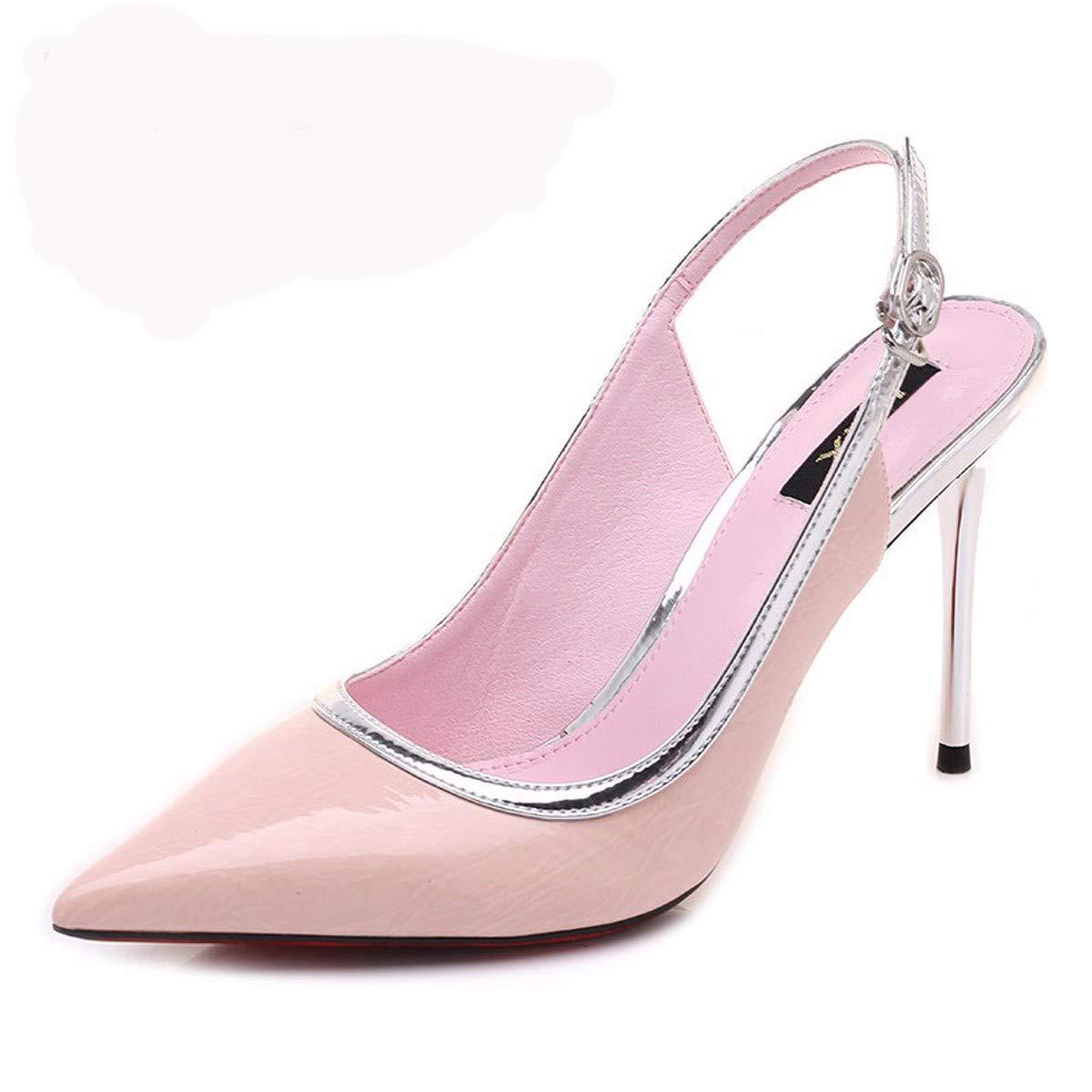 LBTSQ Damenschuhe Spitze Absatz 9 cm Hohen Dünnen Ferse Flachen Mund Sexy Sandalen