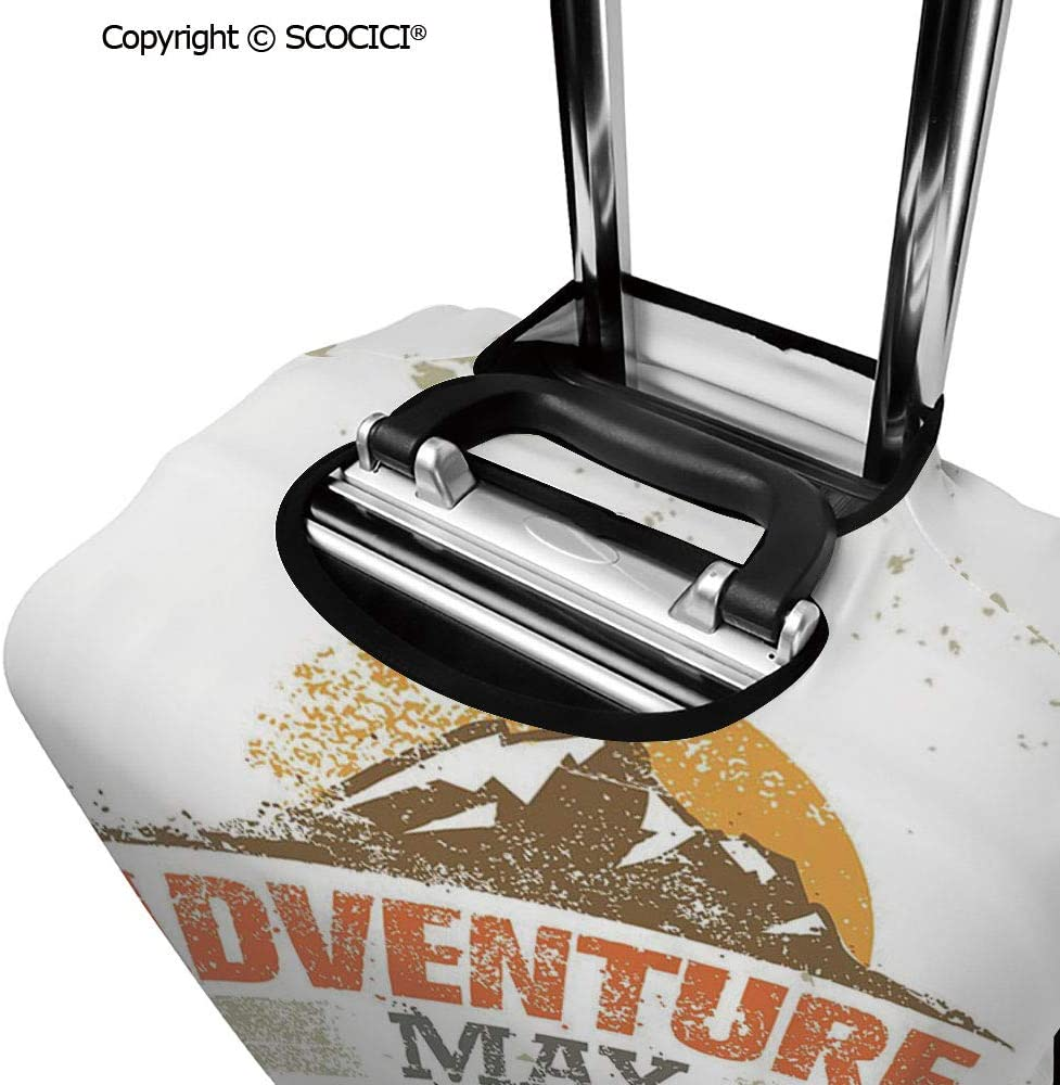 SCOCICI Adventure Versus Monotony Quote with Sun and Mountains Movement Suggesting Image Luggage Case Protective Baggage Suitcase Cover for 19-32 Luggage