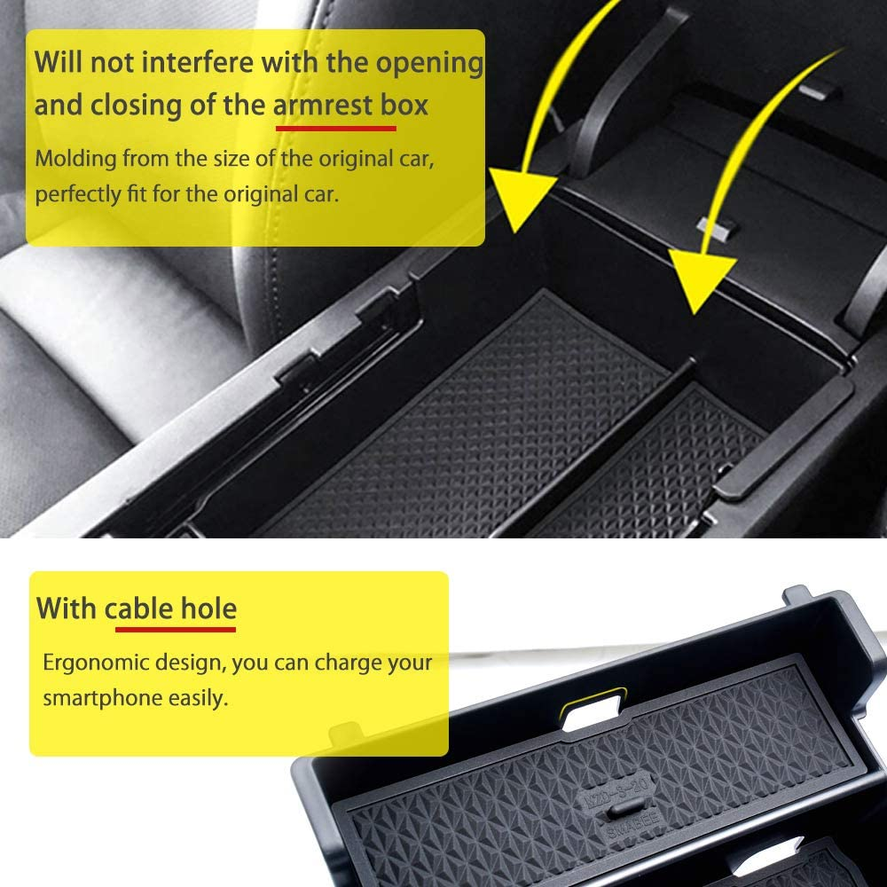 Mixsuper 2019 2020 Mazda 3 Accessories Center Console Tray ABS Armrest Box Secondary Storage for Mazda 3 Sedan Hatchback All Models