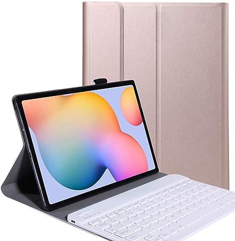 YGoal Teclado Funda para Galaxy Tab S6 Lite 2020, [QWERTY Inglés Layout] PU Cuero Funda con Desmontable Wireless Teclado para Samsung Galaxy Tab S6 ...