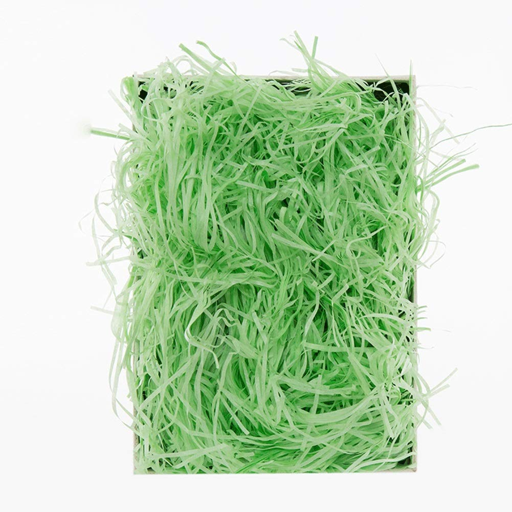 Raffia Ribbon Shredded Kraft Paper Gift Hamper Fill Packaging Party Supplies Wine Box Filling 1000g (Color : Green) by RKRGQ