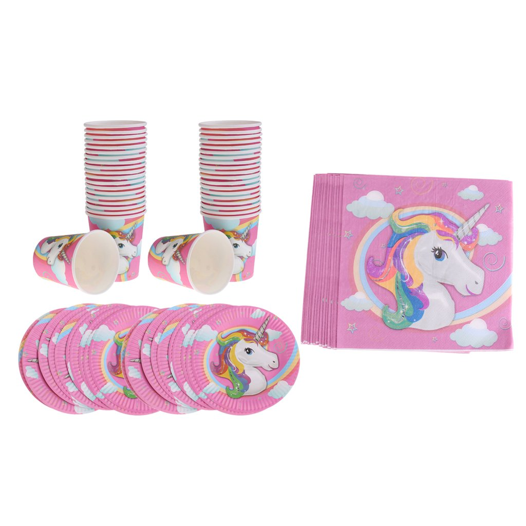 MonkeyJack Pack of 60 In Total Unicorn Paper Cups Plates Napkins Set Kids Birthday Party Accessories