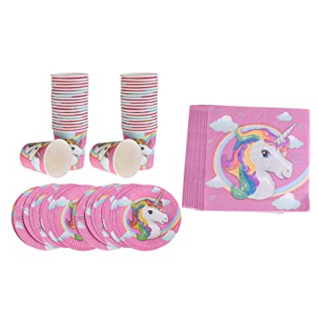 Sharplace 60 Piezas Unicornio Vasos de Papel Adorno de Fiesta Disponible Taza para Bebida de Color Rosa