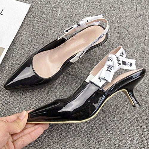 Arco En Con Femeninas Tacones Leather Gato Finos Los Carta Black Verano Baotou Femenino Señalaron De Zapatos Tacón Sandalias PnpxtnCwHq