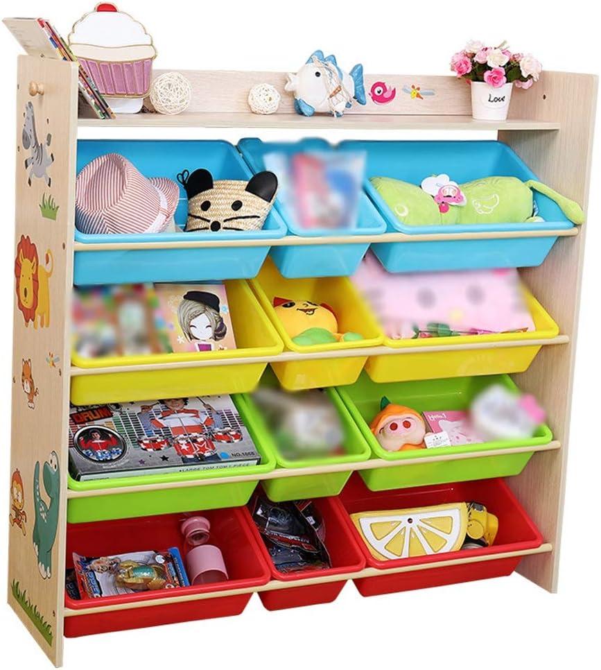 子供用おもちゃ収納ラック 木製の本収納ラックおもちゃ箱と収納ユニット - 天然木 (色 : Natural Wood, サイズ : 102*28.5*100cm)