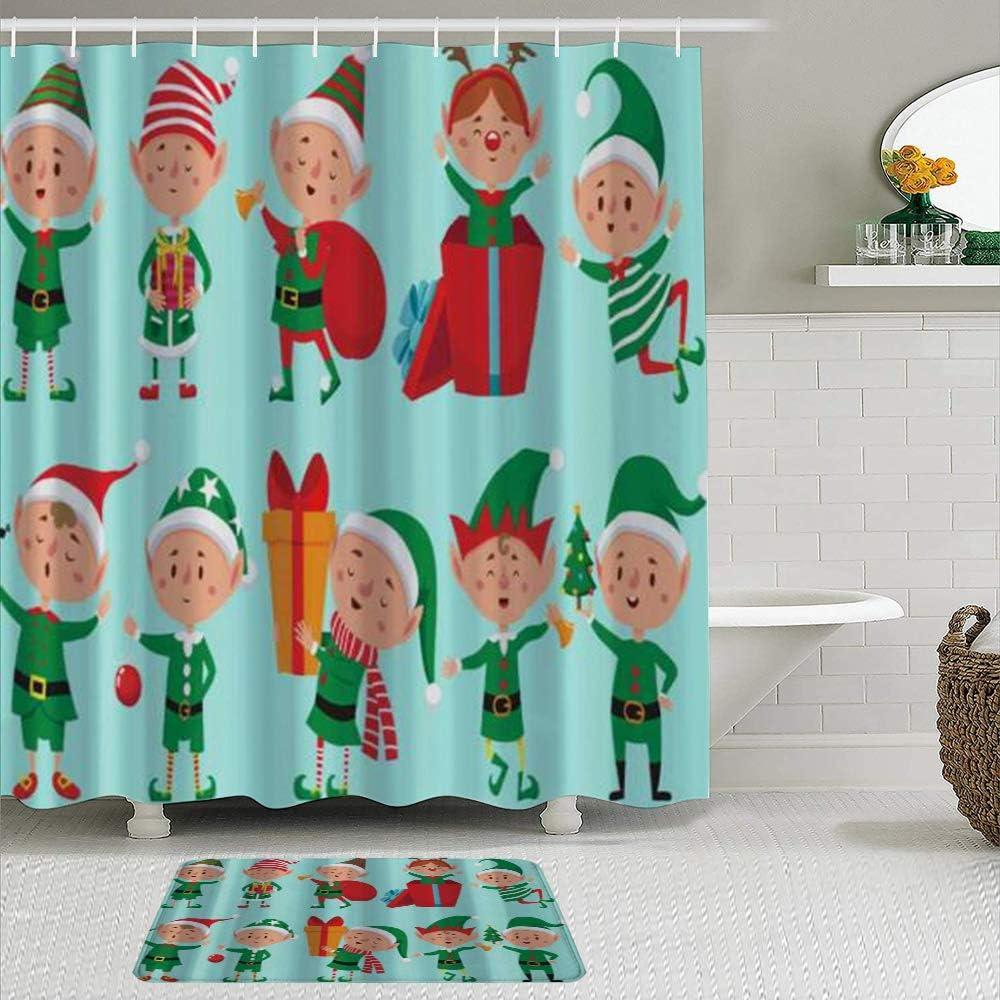 JOSENI Juego de Cortinas de Ducha de 2 Piezas con Alfombra de baño Antideslizante,Personaje Elfo Navidad Ayudantes Santa Claus Dibujos Animados Duendes Enanos Lindos,12 Ganchos