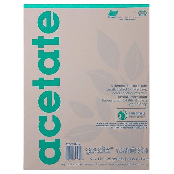Grafix 9 x 12 pulgadas Biodegradable Claro Acetato de 25 hojas - 5 ...