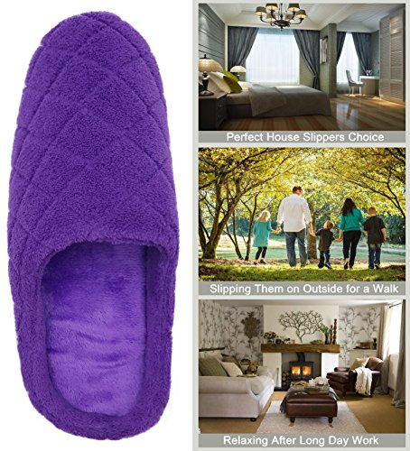 Finoceans Indoor Soft Purple House Outdoor Coral Foam Slippers Grid Shoes Mens Fleece Memory Womens rq4vrwICx